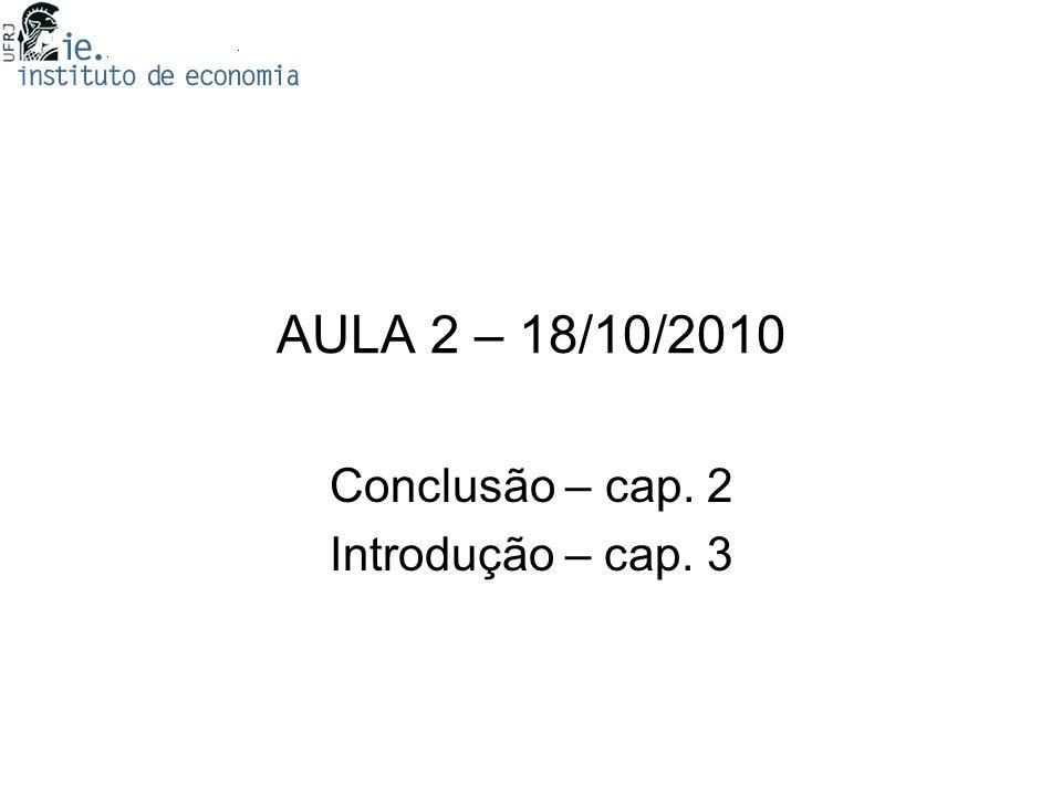 AULA 2 – 18/10/2010 Conclusão – cap. 2 Introdução – cap. 3