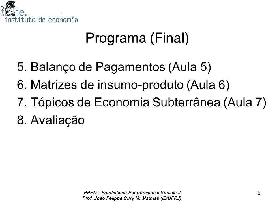 PPED – Estatísticas Econômicas e Sociais II Prof. João Felippe Cury M. Mathias (IE/UFRJ) 5 Programa (Final) 5. Balanço de Pagamentos (Aula 5) 6. Matri