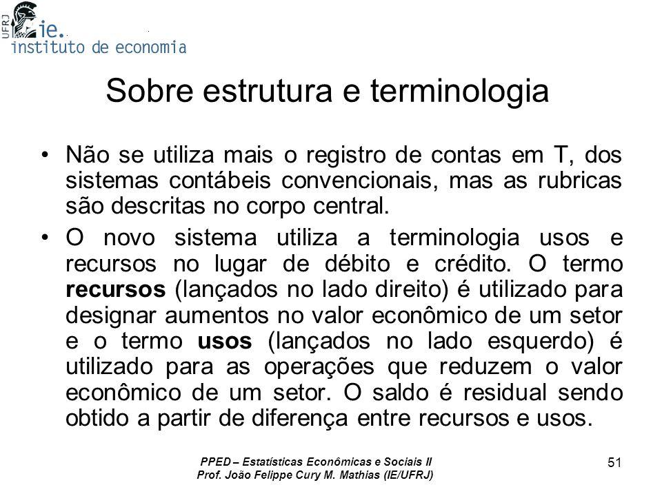 PPED – Estatísticas Econômicas e Sociais II Prof. João Felippe Cury M. Mathias (IE/UFRJ) 51 Sobre estrutura e terminologia Não se utiliza mais o regis