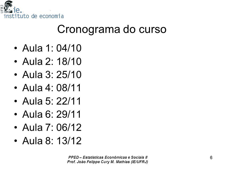 PPED – Estatísticas Econômicas e Sociais II Prof. João Felippe Cury M. Mathias (IE/UFRJ) 6 Cronograma do curso Aula 1: 04/10 Aula 2: 18/10 Aula 3: 25/
