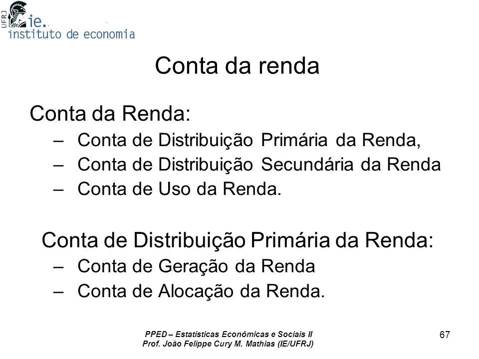 PPED – Estatísticas Econômicas e Sociais II Prof. João Felippe Cury M. Mathias (IE/UFRJ) 67 Conta da renda Conta da Renda: – Conta de Distribuição Pri