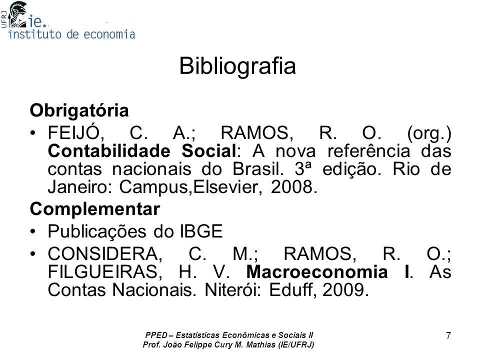 PPED – Estatísticas Econômicas e Sociais II Prof. João Felippe Cury M. Mathias (IE/UFRJ) 7 Bibliografia Obrigatória FEIJÓ, C. A.; RAMOS, R. O. (org.)