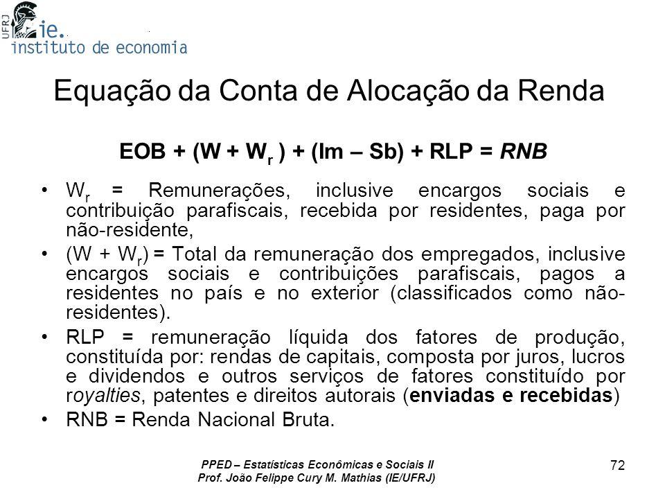 PPED – Estatísticas Econômicas e Sociais II Prof. João Felippe Cury M. Mathias (IE/UFRJ) 72 Equação da Conta de Alocação da Renda EOB + (W + W r ) + (