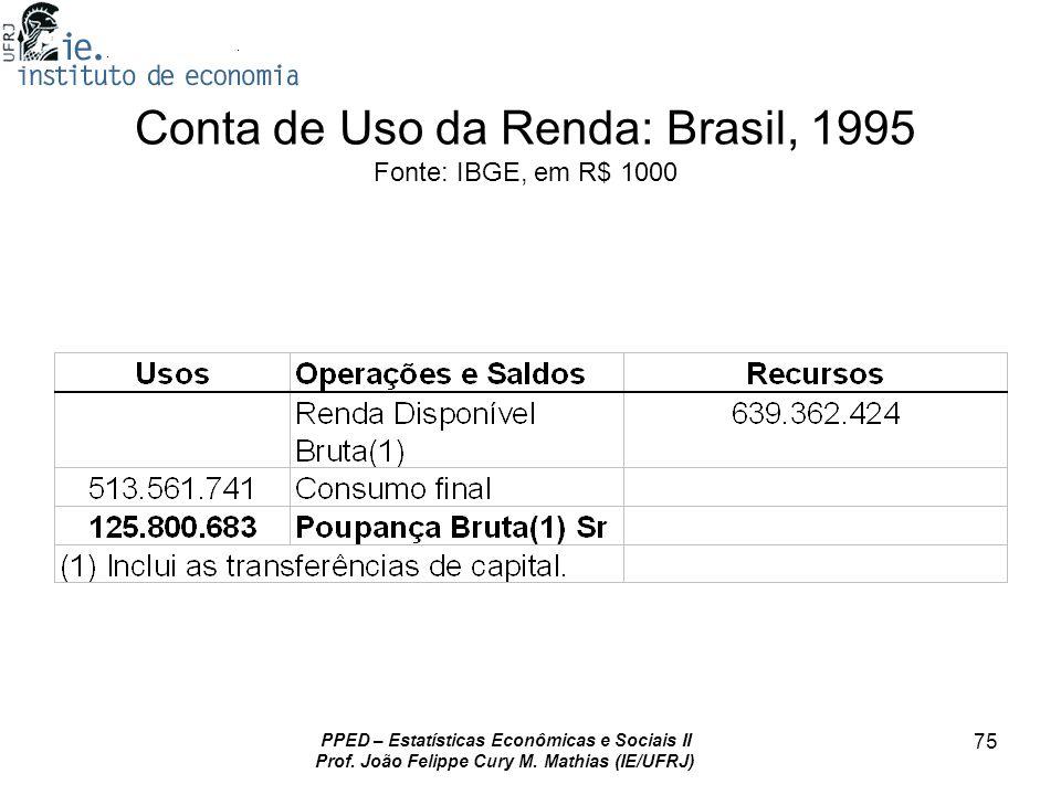 PPED – Estatísticas Econômicas e Sociais II Prof. João Felippe Cury M. Mathias (IE/UFRJ) 75 Conta de Uso da Renda: Brasil, 1995 Fonte: IBGE, em R$ 100