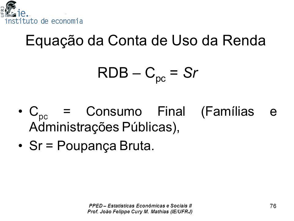 PPED – Estatísticas Econômicas e Sociais II Prof. João Felippe Cury M. Mathias (IE/UFRJ) 76 Equação da Conta de Uso da Renda RDB – C pc = Sr C pc = Co