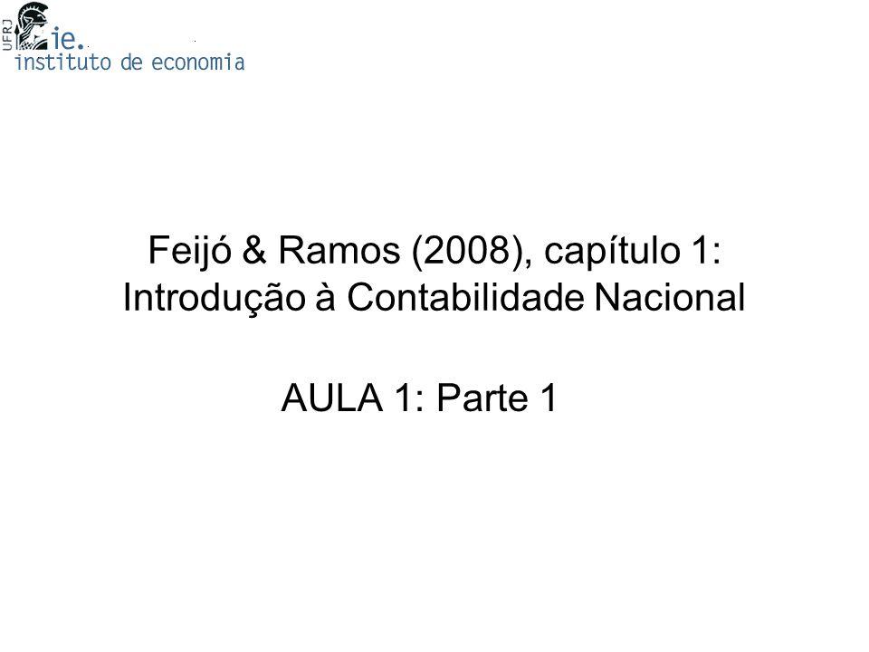 Feijó & Ramos (2008), capítulo 1: Introdução à Contabilidade Nacional AULA 1: Parte 1