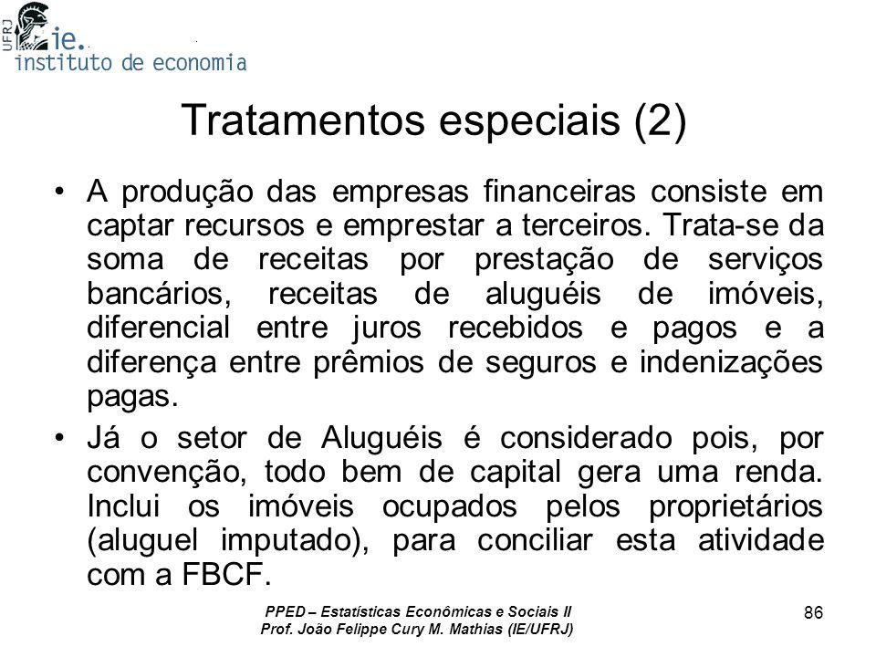 PPED – Estatísticas Econômicas e Sociais II Prof. João Felippe Cury M. Mathias (IE/UFRJ) 86 Tratamentos especiais (2) A produção das empresas financei
