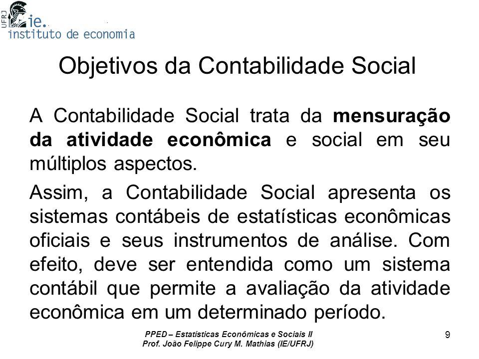 PPED – Estatísticas Econômicas e Sociais II Prof. João Felippe Cury M. Mathias (IE/UFRJ) 9 Objetivos da Contabilidade Social A Contabilidade Social tr