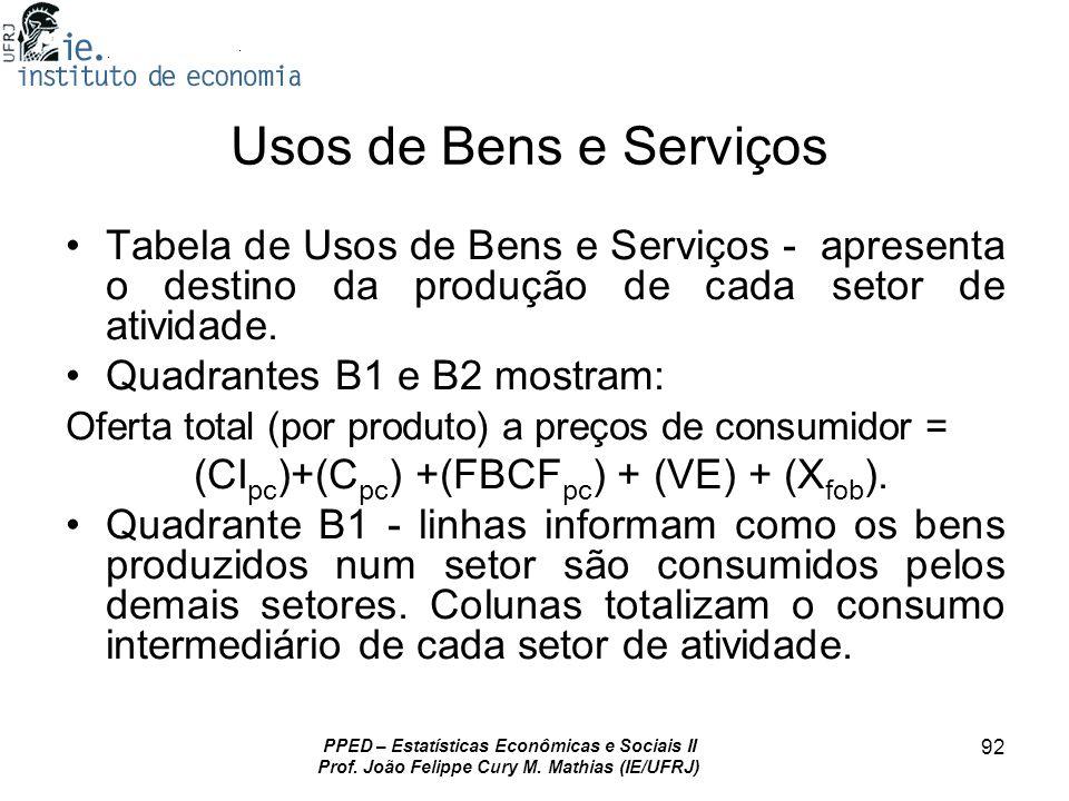 PPED – Estatísticas Econômicas e Sociais II Prof. João Felippe Cury M. Mathias (IE/UFRJ) 92 Usos de Bens e Serviços Tabela de Usos de Bens e Serviços