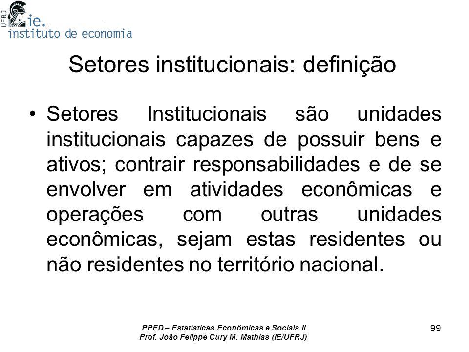 PPED – Estatísticas Econômicas e Sociais II Prof. João Felippe Cury M. Mathias (IE/UFRJ) 99 Setores institucionais: definição Setores Institucionais s