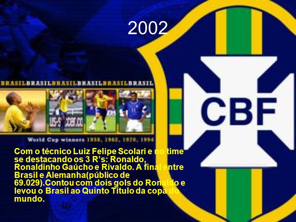 2002 Com o técnico Luiz Felipe Scolari e no time se destacando os 3 Rs: Ronaldo, Ronaldinho Gaúcho e Rivaldo. A final entre Brasil e Alemanha(público