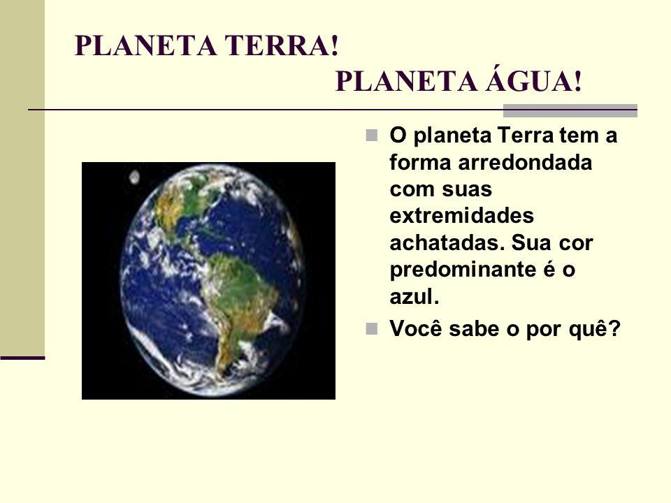 PLANETA TERRA! PLANETA ÁGUA! O planeta Terra tem a forma arredondada com suas extremidades achatadas. Sua cor predominante é o azul. Você sabe o por q