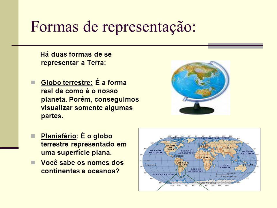 Formas de representação: Há duas formas de se representar a Terra: Globo terrestre: É a forma real de como é o nosso planeta. Porém, conseguimos visua