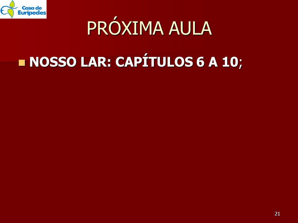 PRÓXIMA AULA NOSSO LAR: CAPÍTULOS 6 A 10; NOSSO LAR: CAPÍTULOS 6 A 10; 21