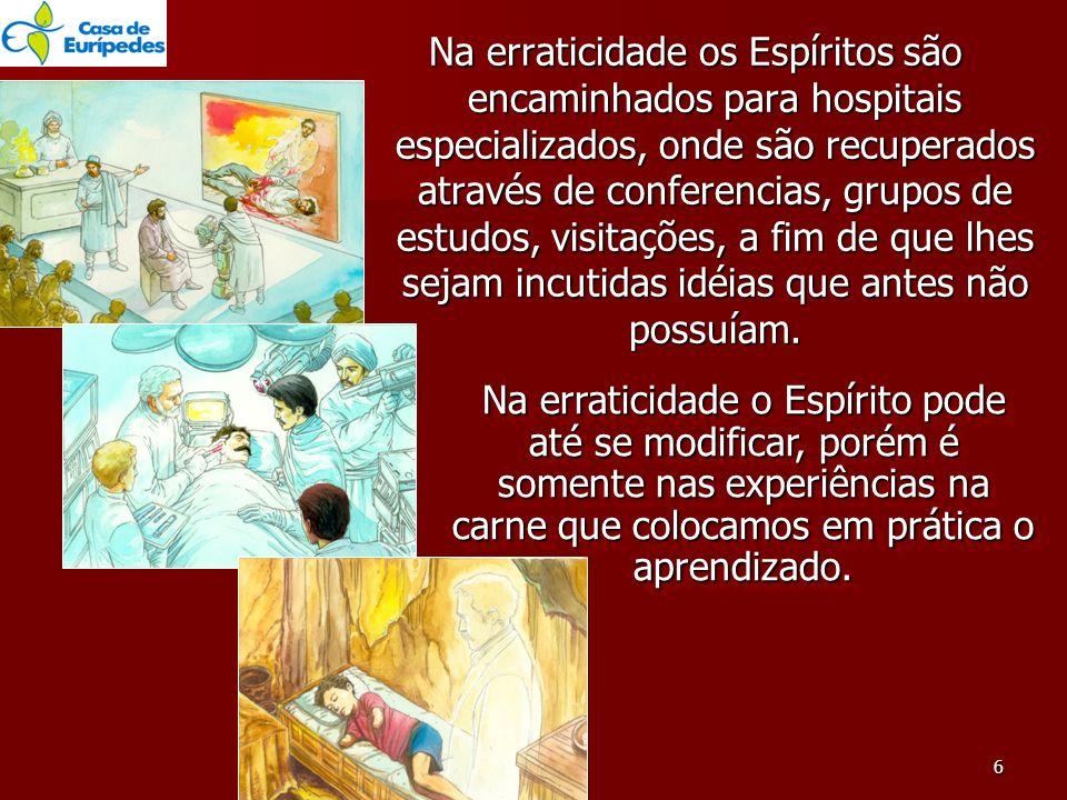 Na erraticidade os Espíritos são encaminhados para hospitais especializados, onde são recuperados através de conferencias, grupos de estudos, visitaçõ