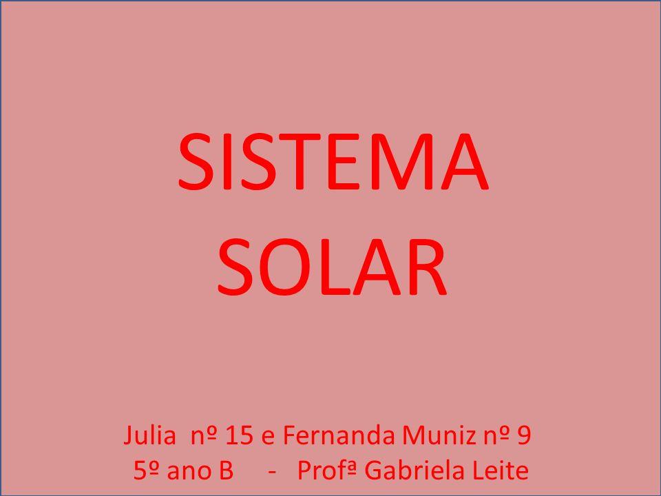 SISTEMA SOLAR Julia nº 15 e Fernanda Muniz nº 9 5º ano B - Profª Gabriela Leite