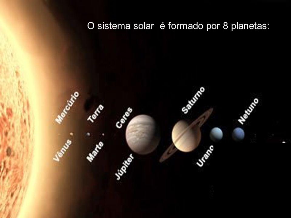 O sistema solar é composto por 8 planetas: O sistema solar é formado por 8 planetas: