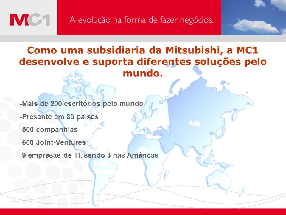 Como uma subsidiaria da Mitsubishi, a MC1 desenvolve e suporta diferentes soluções pelo mundo. -Mais de 200 escritórios pelo mundo -Presente em 80 pai