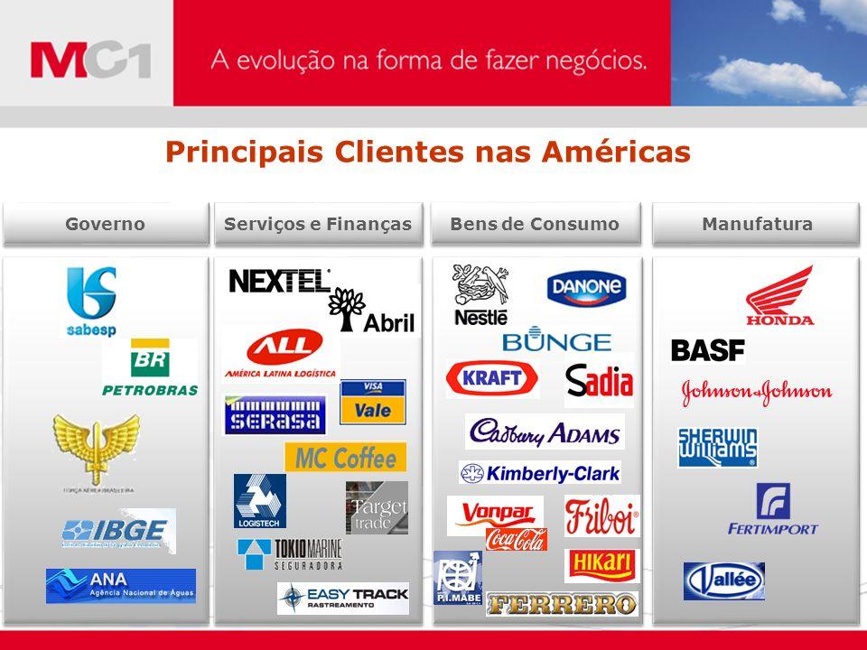 Manufatura Governo Serviços e Finanças Bens de Consumo Principais Clientes nas Américas