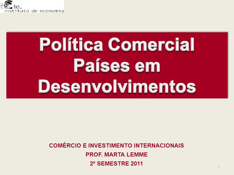 COMÉRCIO E INVESTIMENTO INTERNACIONAIS PROF. MARTA LEMME 2º SEMESTRE 2011 1