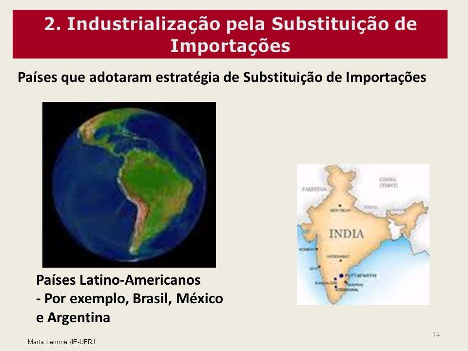 14 Países que adotaram estratégia de Substituição de Importações Países Latino-Americanos - Por exemplo, Brasil, México e Argentina Marta Lemme /IE-UF