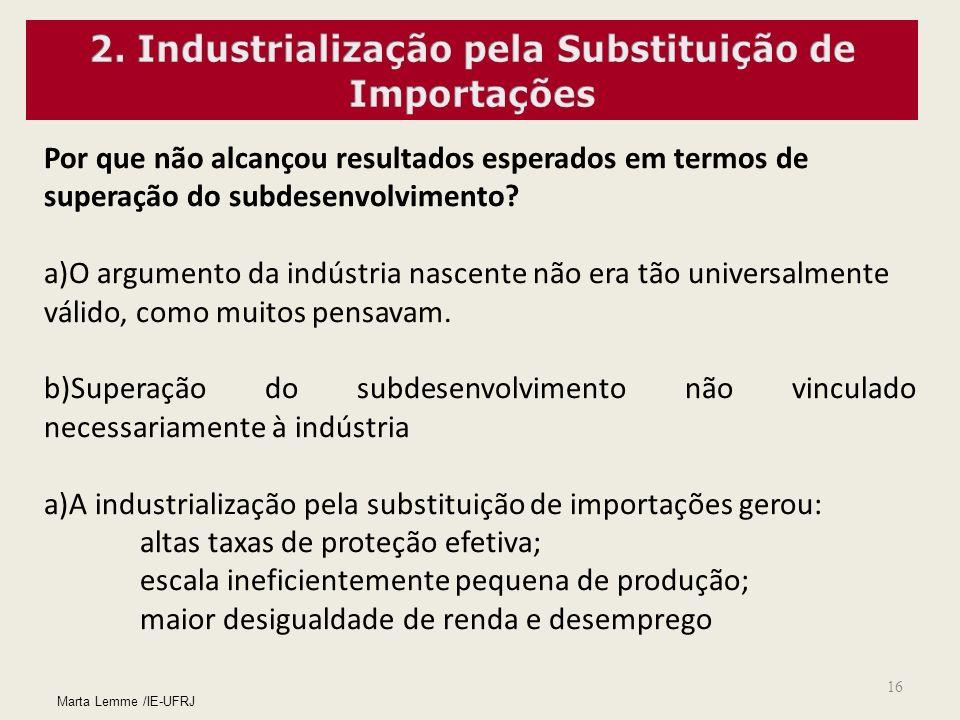 16 Por que não alcançou resultados esperados em termos de superação do subdesenvolvimento? a)O argumento da indústria nascente não era tão universalme