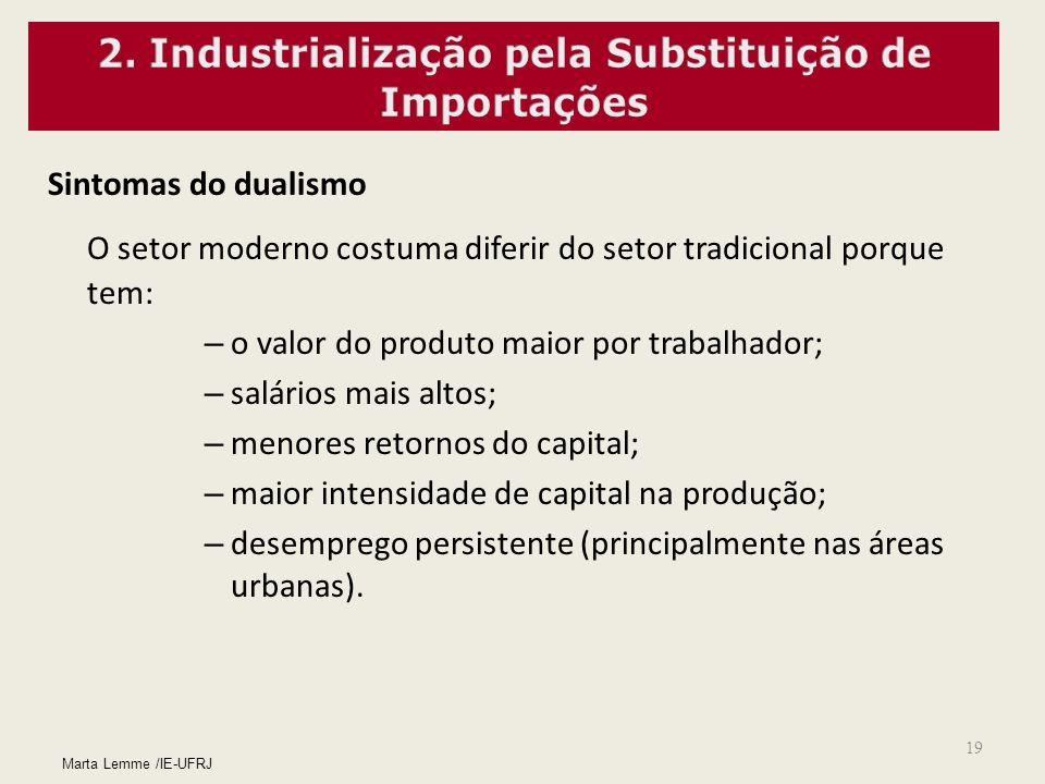 19 Sintomas do dualismo O setor moderno costuma diferir do setor tradicional porque tem: – o valor do produto maior por trabalhador; – salários mais a