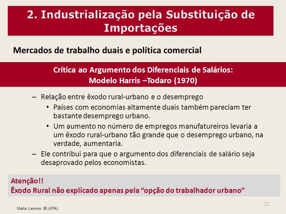 22 Mercados de trabalho duais e política comercial Crítica ao Argumento dos Diferenciais de Salários: Modelo Harris –Todaro (1970) – Relação entre êxo