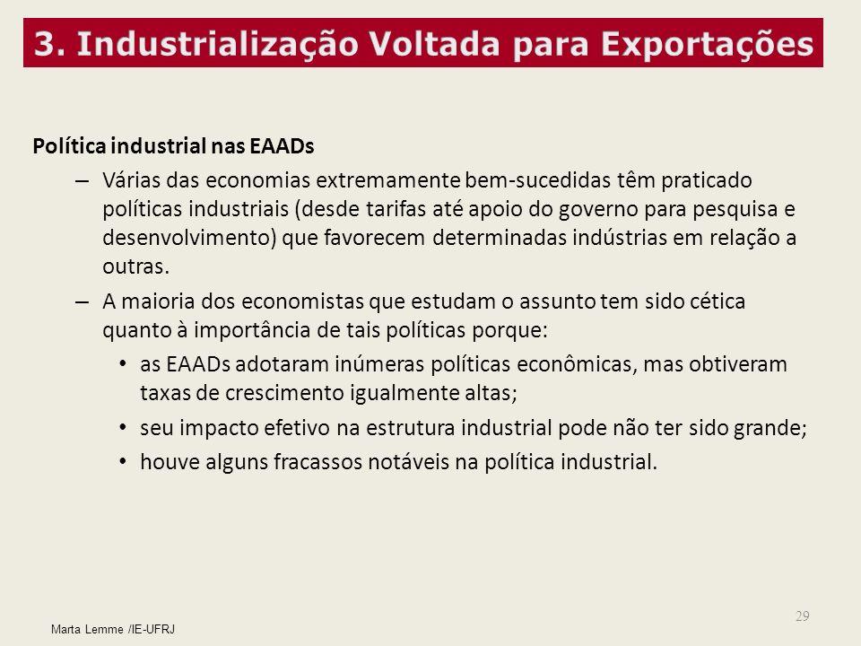 29 Política industrial nas EAADs – Várias das economias extremamente bem-sucedidas têm praticado políticas industriais (desde tarifas até apoio do gov