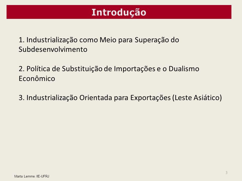 3 Marta Lemme /IE-UFRJ 1. Industrialização como Meio para Superação do Subdesenvolvimento 2. Política de Substituição de Importações e o Dualismo Econ