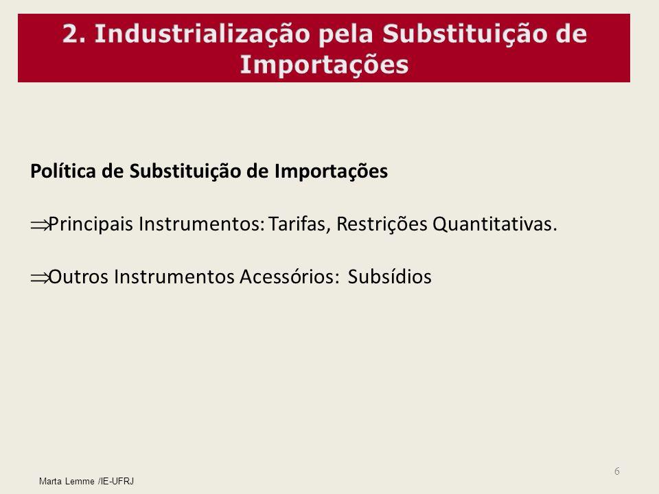 6 Marta Lemme /IE-UFRJ Política de Substituição de Importações Principais Instrumentos: Tarifas, Restrições Quantitativas. Outros Instrumentos Acessór
