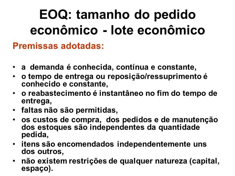 EOQ: tamanho do pedido econômico - lote econômico Premissas adotadas: a demanda é conhecida, contínua e constante, o tempo de entrega ou reposição/res