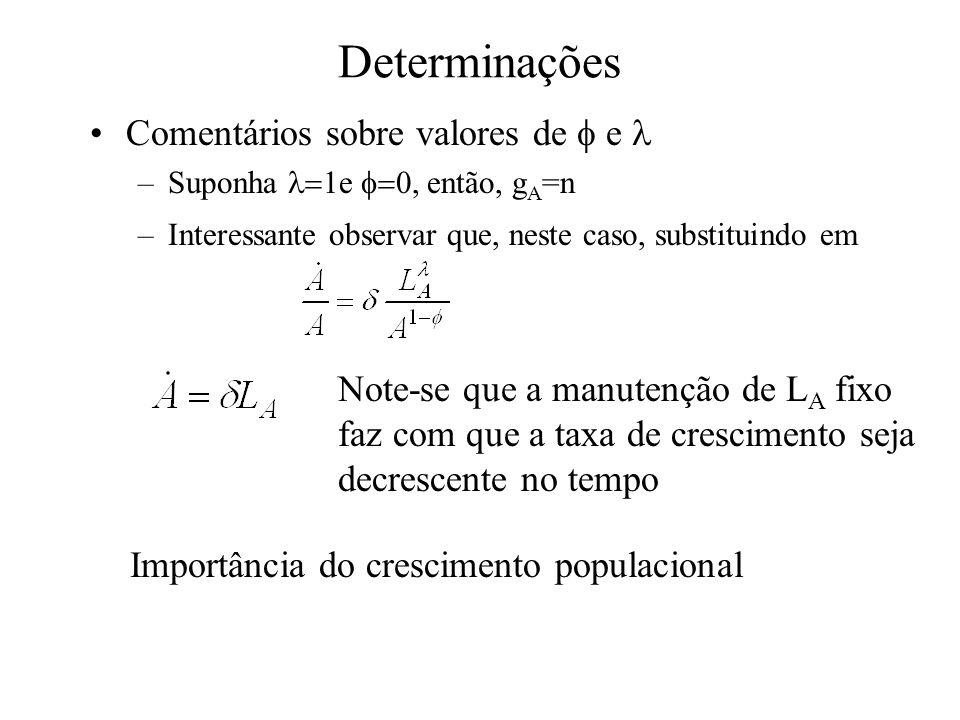 Determinações Comentários sobre valores de e –Suponha e, então, g A =n –Interessante observar que, neste caso, substituindo em Note-se que a manutençã