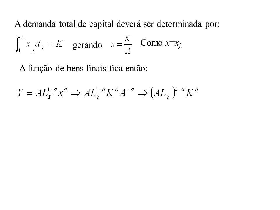 A demanda total de capital deverá ser determinada por: gerando Como x=x j, A função de bens finais fica então: