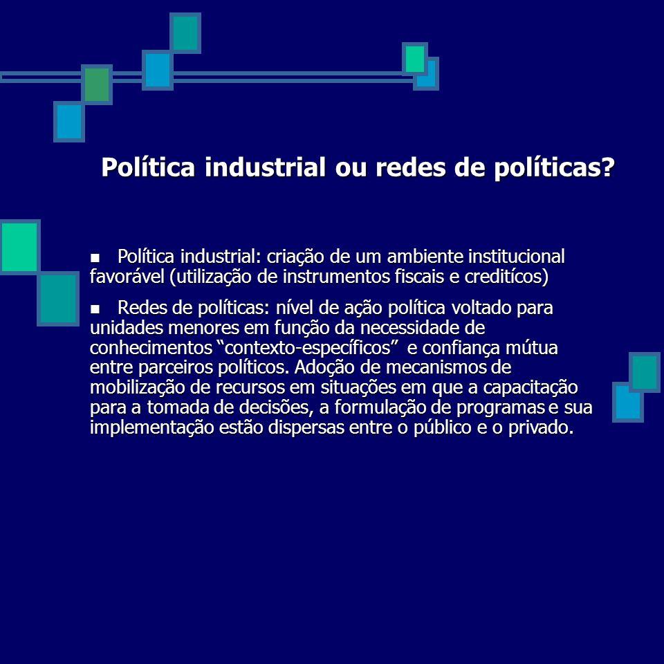 Política industrial ou redes de políticas? Política industrial: criação de um ambiente institucional favorável (utilização de instrumentos fiscais e c