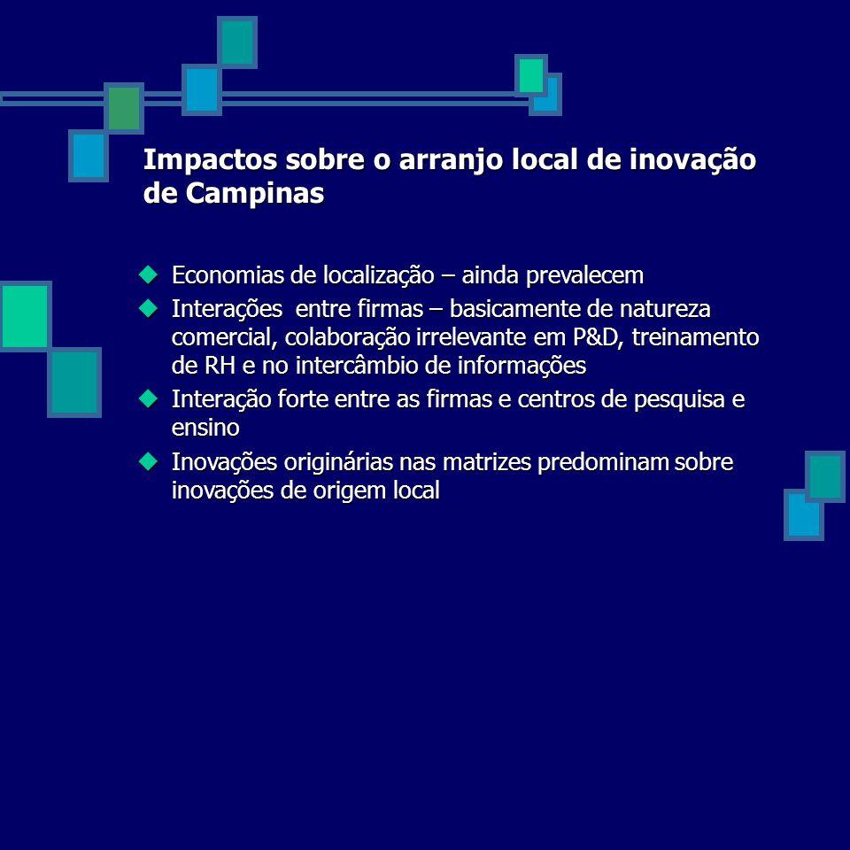 Impactos sobre o arranjo local de inovação de Campinas Economias de localização – ainda prevalecem Economias de localização – ainda prevalecem Interaç