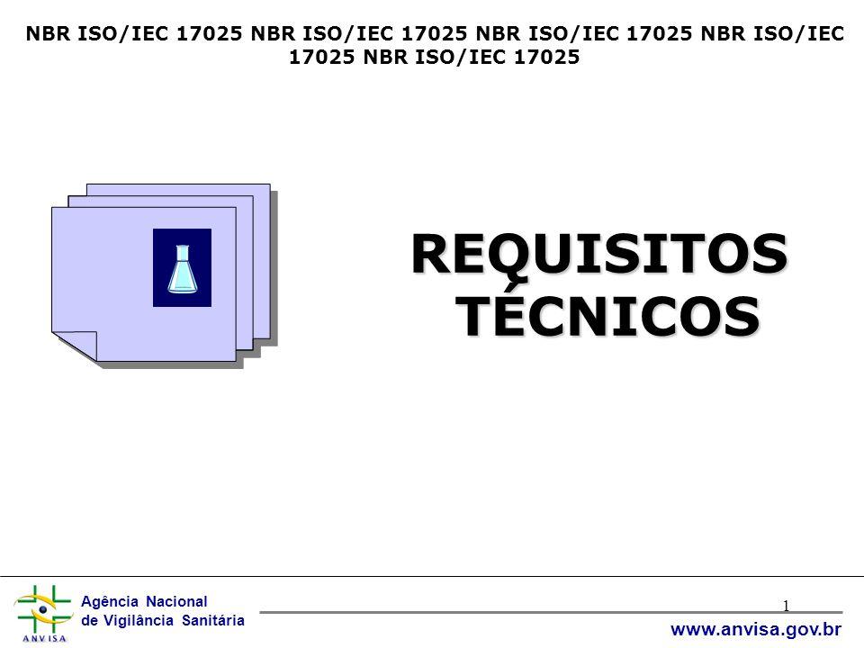 Agência Nacional de Vigilância Sanitária www.anvisa.gov.br 1 NBR ISO/IEC 17025 NBR ISO/IEC 17025 NBR ISO/IEC 17025 NBR ISO/IEC 17025 NBR ISO/IEC 17025 REQUISITOS TÉCNICOS