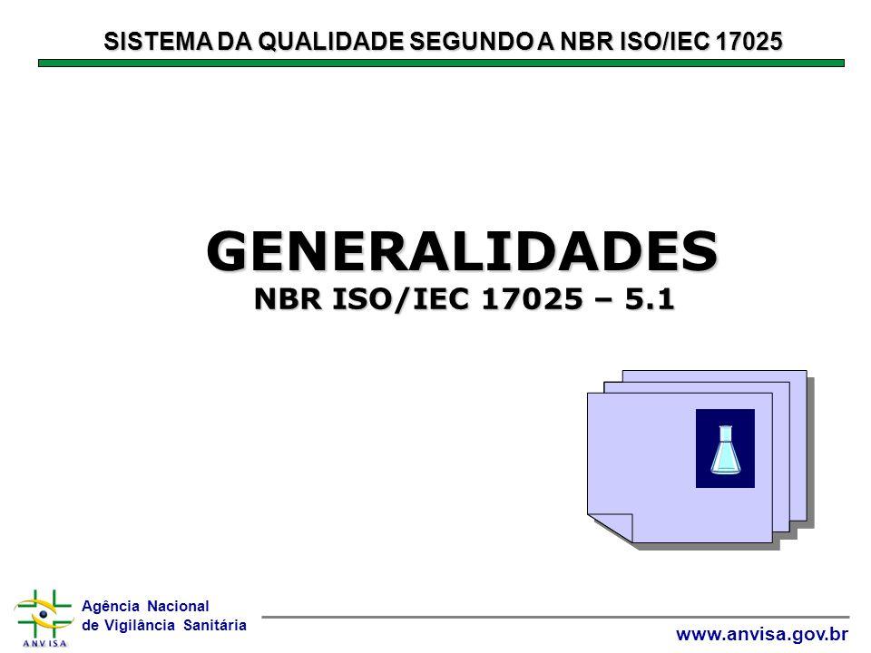 Agência Nacional de Vigilância Sanitária www.anvisa.gov.br SISTEMA DA QUALIDADE SEGUNDO A NBR ISO/IEC 17025 GENERALIDADES GENERALIDADES Agência Nacional de Vigilância Sanitária www.anvisa.gov.br NBR ISO/IEC 17025 – 5.1