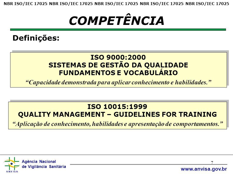 Agência Nacional de Vigilância Sanitária www.anvisa.gov.br 7 COMPETÊNCIA ISO 9000:2000 SISTEMAS DE GESTÃO DA QUALIDADE FUNDAMENTOS E VOCABULÁRIO Capacidade demonstrada para aplicar conhecimento e habilidades.