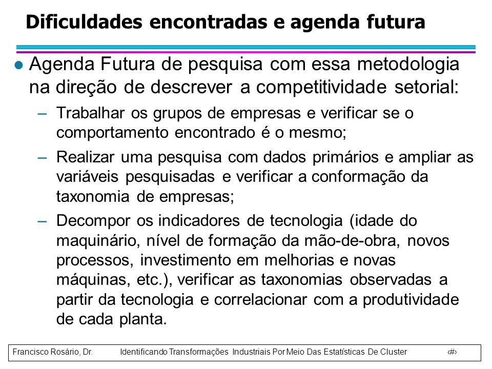 Francisco Rosário, Dr. Identificando Transformações Industriais Por Meio Das Estatísticas De Cluster 12 l Agenda Futura de pesquisa com essa metodolog