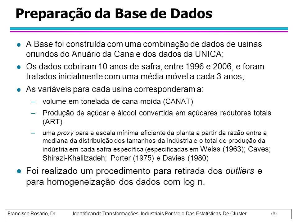 Francisco Rosário, Dr. Identificando Transformações Industriais Por Meio Das Estatísticas De Cluster 5 Preparação da Base de Dados l A Base foi constr