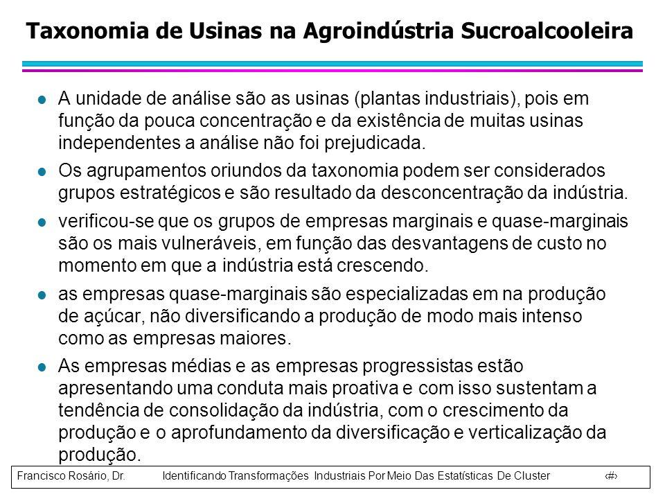 Francisco Rosário, Dr. Identificando Transformações Industriais Por Meio Das Estatísticas De Cluster 9 l A unidade de análise são as usinas (plantas i