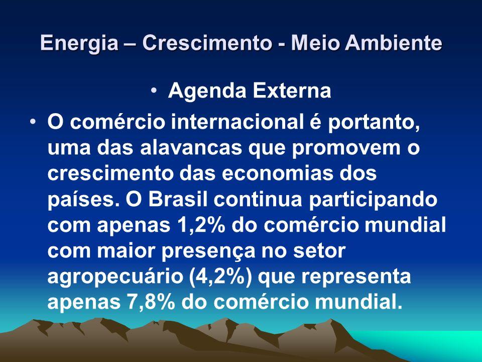 Energia – Crescimento - Meio Ambiente Agenda Externa O comércio internacional é portanto, uma das alavancas que promovem o crescimento das economias d