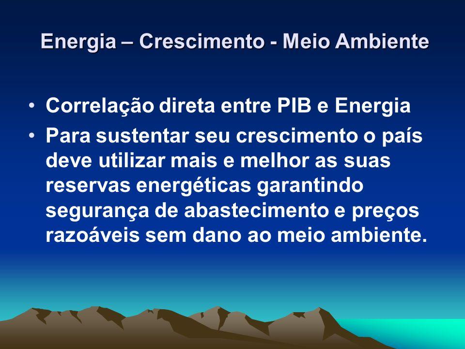 Energia – Crescimento - Meio Ambiente Energia – Crescimento - Meio Ambiente Correlação direta entre PIB e Energia Para sustentar seu crescimento o paí