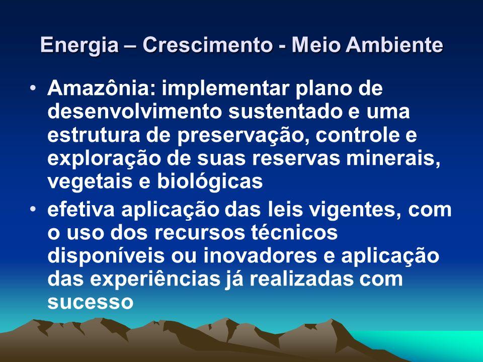 Energia – Crescimento - Meio Ambiente Amazônia: implementar plano de desenvolvimento sustentado e uma estrutura de preservação, controle e exploração