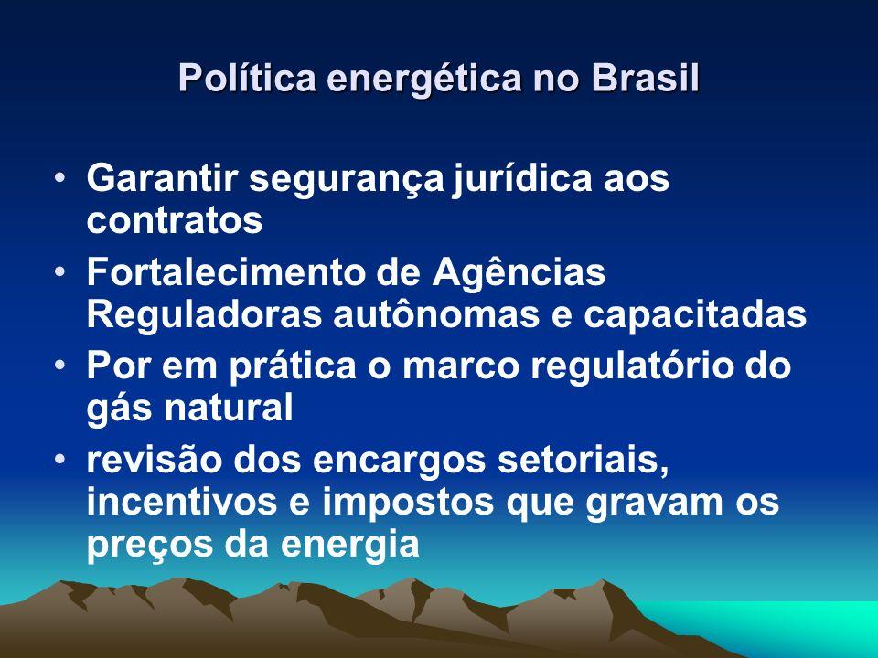 Política energética no Brasil Garantir segurança jurídica aos contratos Fortalecimento de Agências Reguladoras autônomas e capacitadas Por em prática