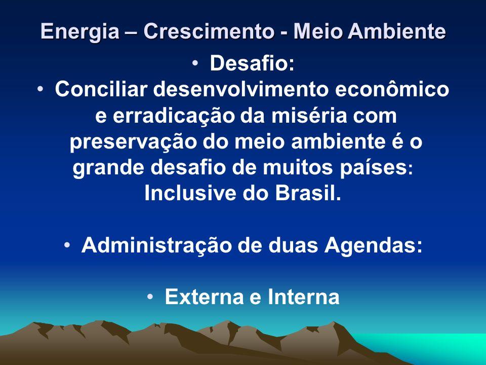 Energia – Crescimento - Meio Ambiente O Brasil possui uma das matrizes energéticas mais limpas do mundo 45% de sua energia primária provém de fontes renováveis contra 13,6% de média mundial e apenas 6% nos países desenvolvidos