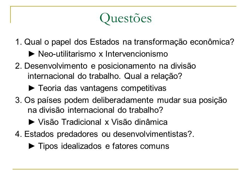 Questões 1. Qual o papel dos Estados na transformação econômica? Neo-utilitarismo x Intervencionismo 2. Desenvolvimento e posicionamento na divisão in