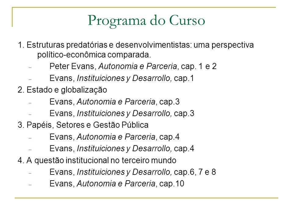 Programa do Curso 1. Estruturas predatórias e desenvolvimentistas: uma perspectiva político-econômica comparada. – Peter Evans, Autonomia e Parceria,