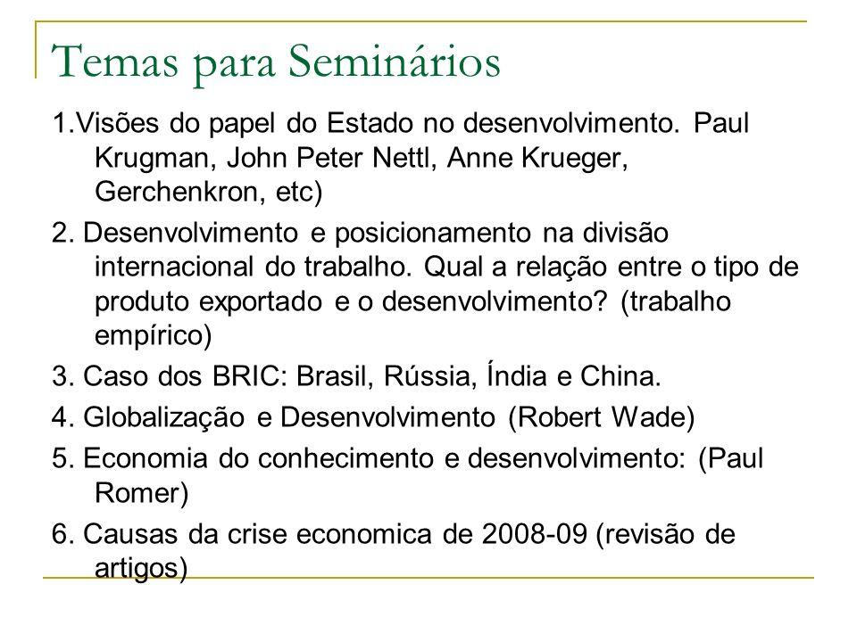 Temas para Seminários 1.Visões do papel do Estado no desenvolvimento. Paul Krugman, John Peter Nettl, Anne Krueger, Gerchenkron, etc) 2. Desenvolvimen
